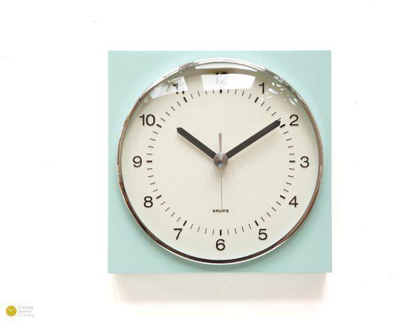1966 KRUPS BAUHAUS Wall Kitchen Clock Mint Green - Germany Panton