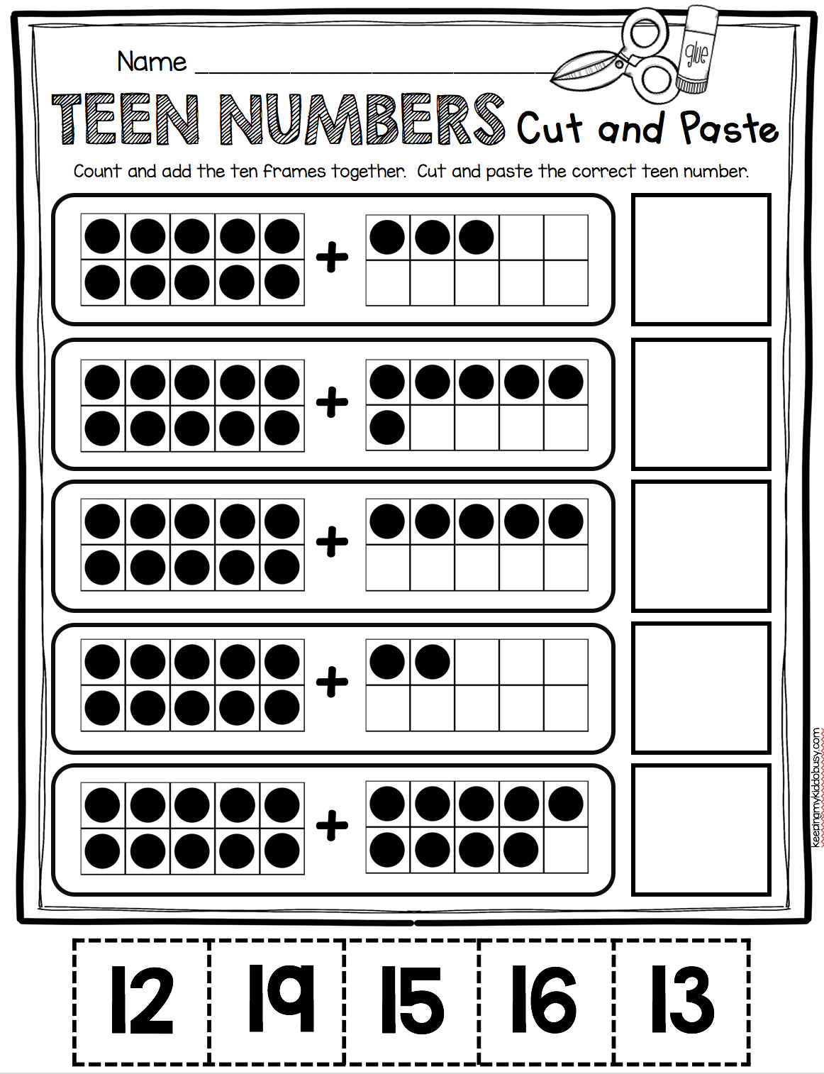 TEEN NUMBERS - kindergarten cut and paste math worksheet using ten ...
