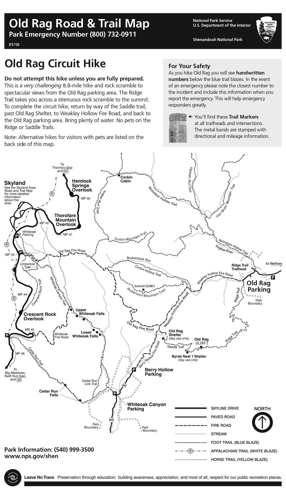 Trail map for hiking Old Rag VIRGINIA HIKING TRAIL Pinterest