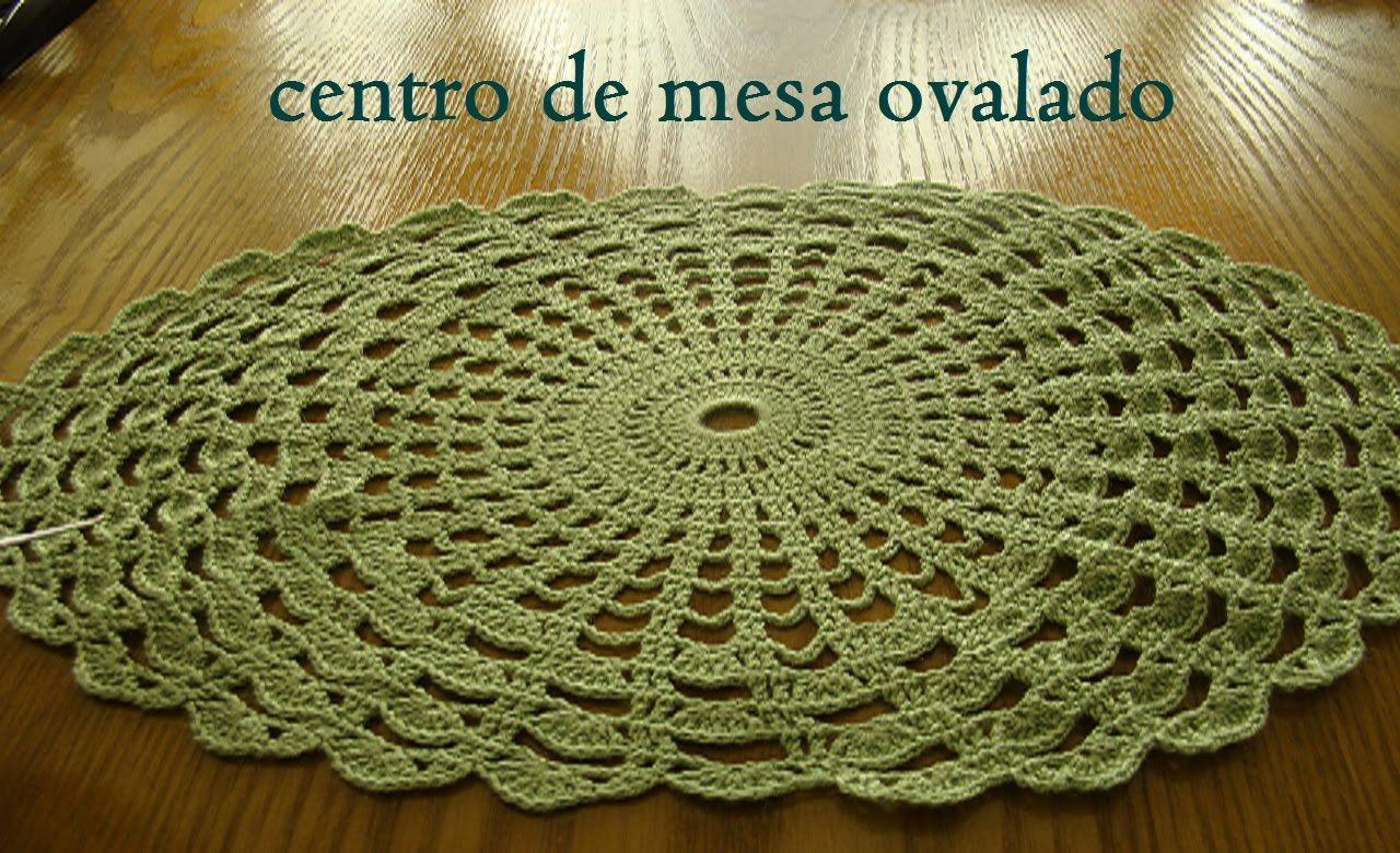 Centro de mesa ovalado tejido a crochet paso a paso - Centros de mesa de ganchillo ...