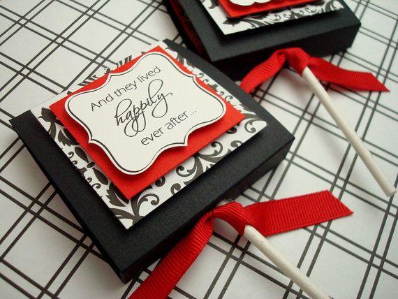 Custom Wedding Lollipop Favors Black And Red Damask 50 Reserved For Abeck