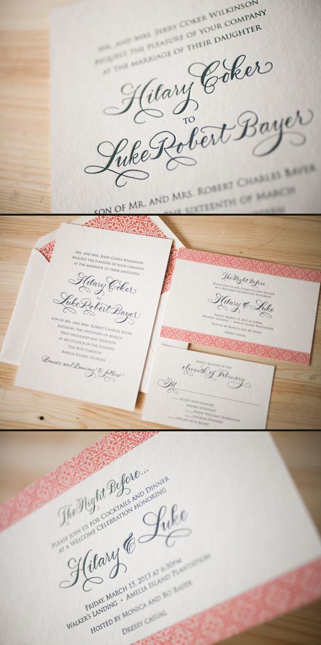 Custom letterpress wedding invitations featuring hand calligraphy by ...