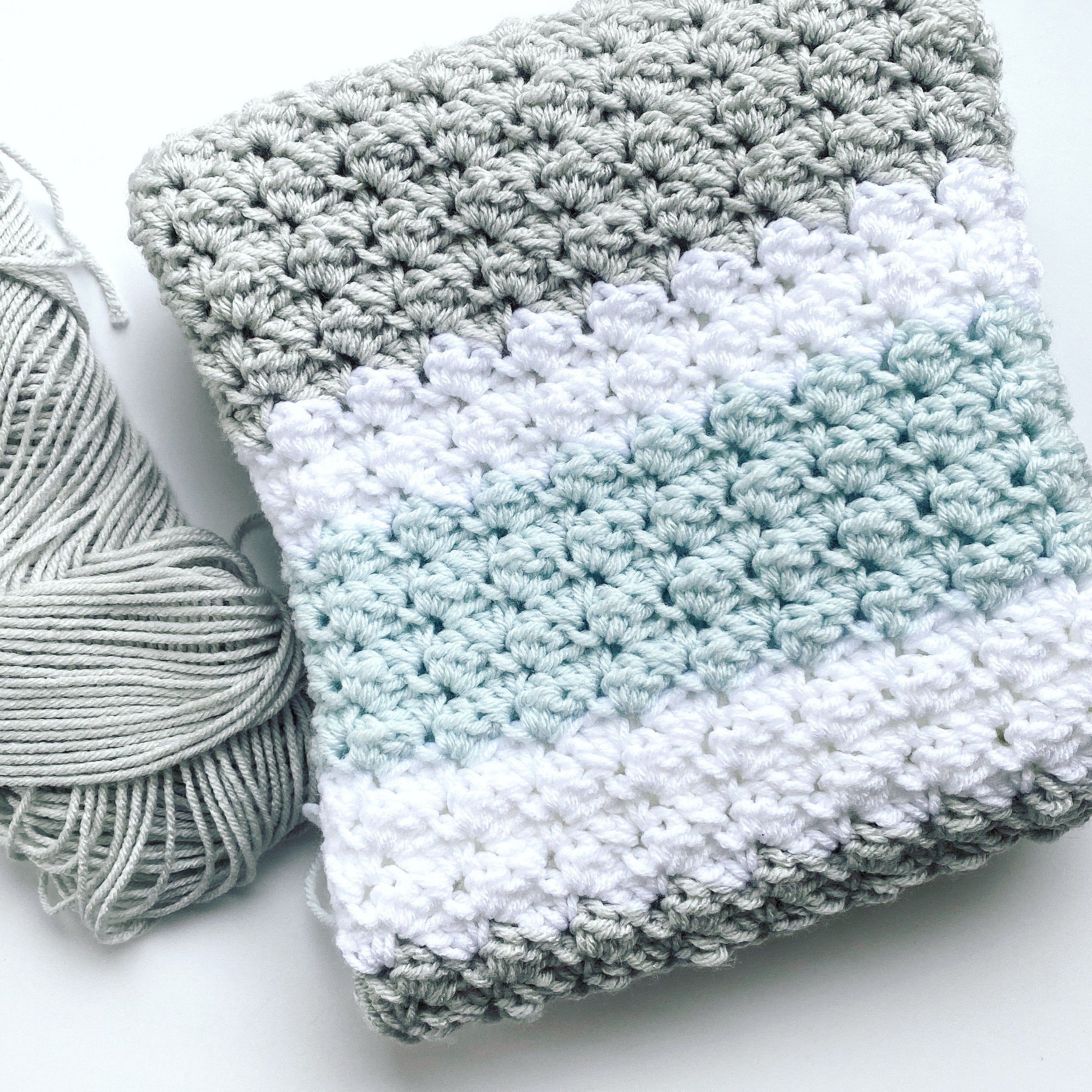 Green Handmade Crocheted Afghan Lap Throw Baby Blanket Corner to Corner Moss Gray