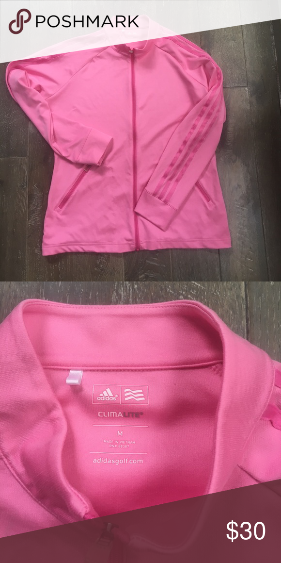 Pink adidas zip up Pink adidas zip up. Size m. Worn once. Great condition adidas Tops Sweatshirts & Hoodies