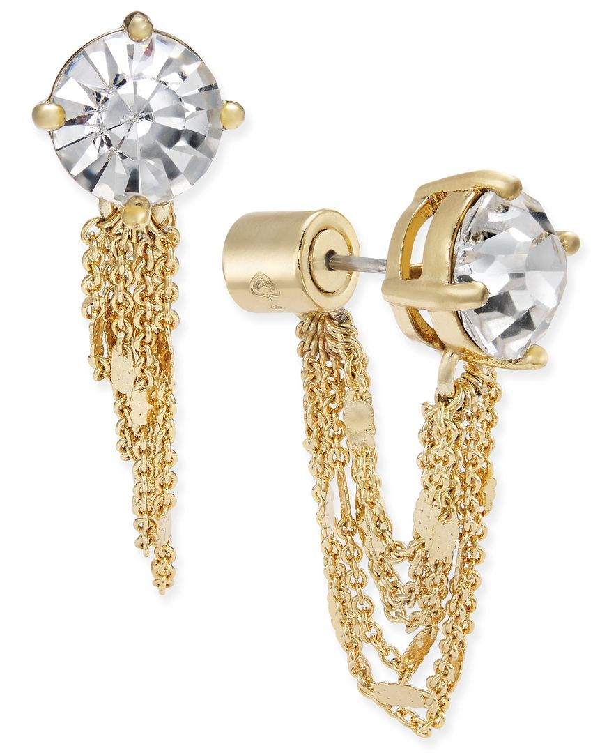 Kate spade new york goldtone crystal stud and chain earring jackets