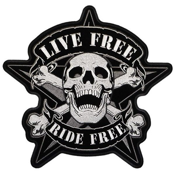 Iron on Patch Embroidered Patches Application Biker MC Big Skull Silver Creepy