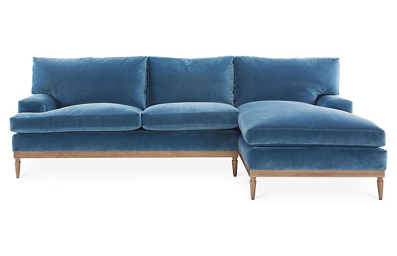 Best Sutton Right Facing Sectional Harbor Blue Velvet Blue 400 x 300