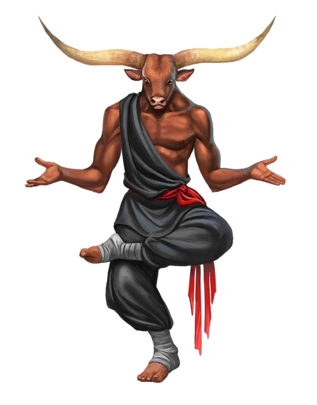 Male Minotaur Monk - Pathfinder PFRPG DND D&D 3 5 5E 5th ed d20