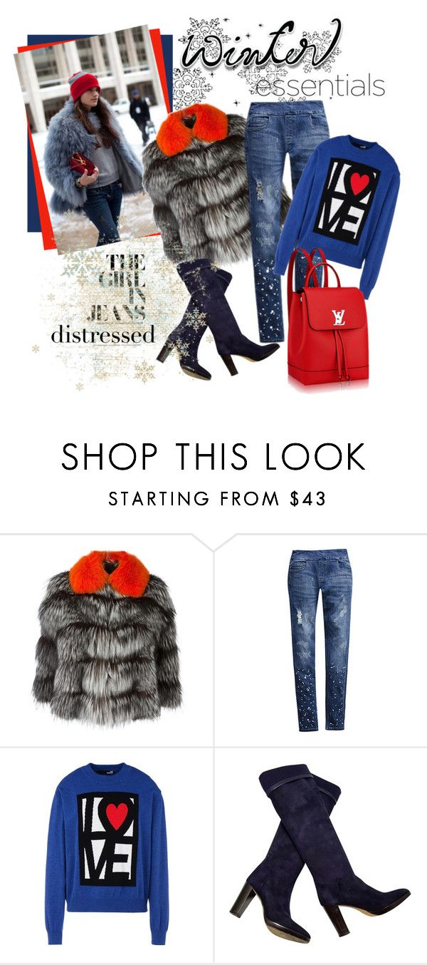 """Winter Essentials: Distressed Jeans"" by elena-viola-1 ❤ liked on Polyvore featuring BLANCHA, Bluberry Denim, Love Moschino, Loro Piana and plus size clothing"