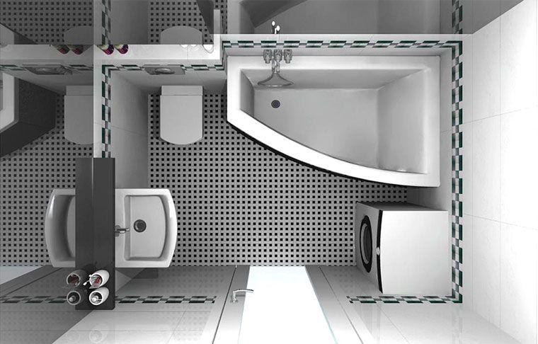 дизайн маленькой ванной комнаты совмещенной с туалетом Casa в