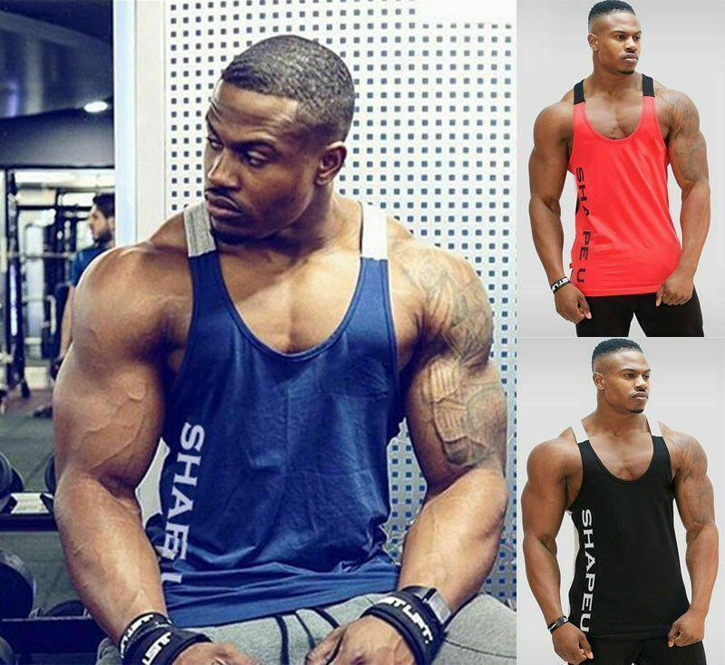 New Men's Muscle Gym Sleeveless Tank Top T-Shirt Bodybuilding Sport Fitness Vest... -  New Men's Mus...