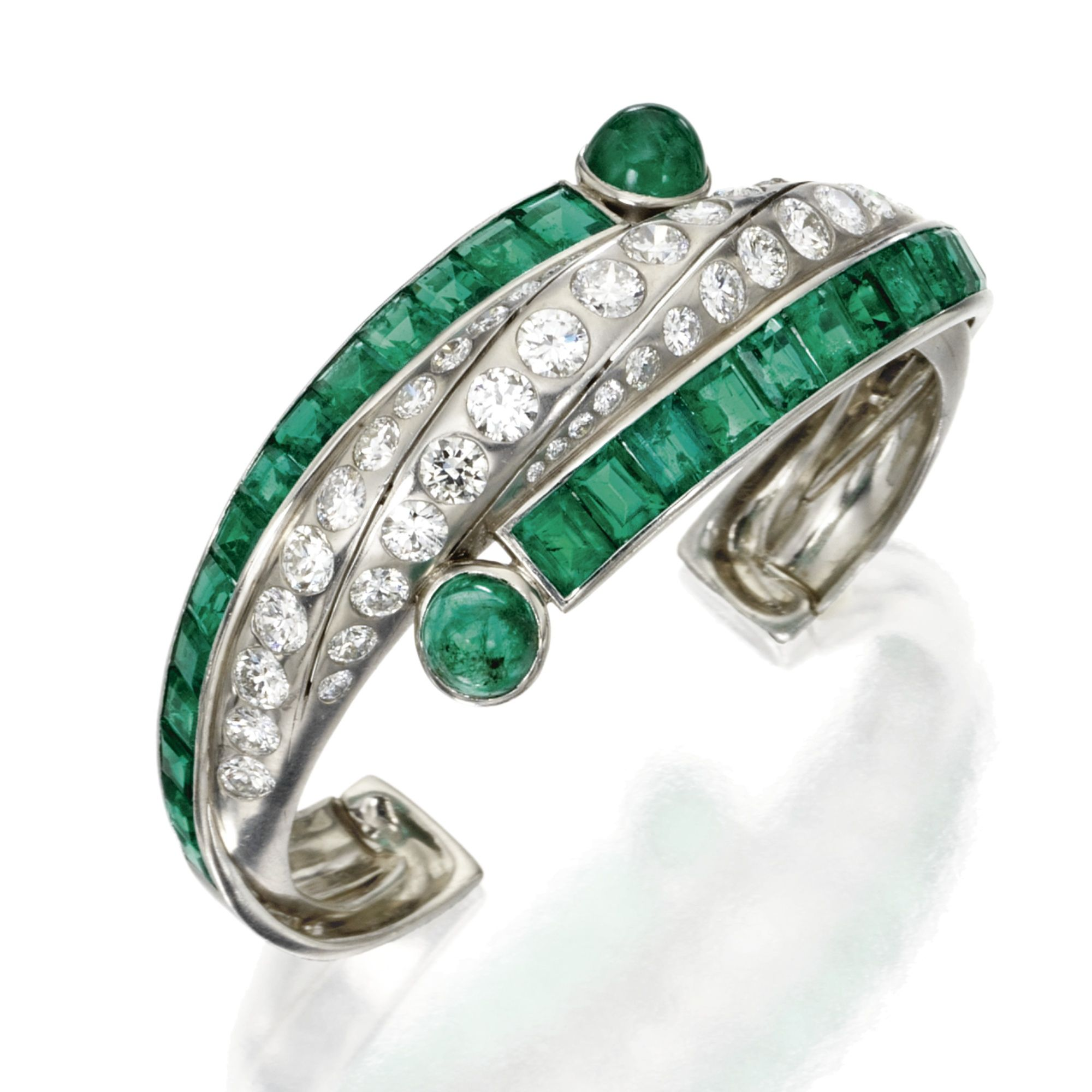 Art Moderne Platinum, Emerald and Diamond Cuff Bracelet, Circa 1930 art deco