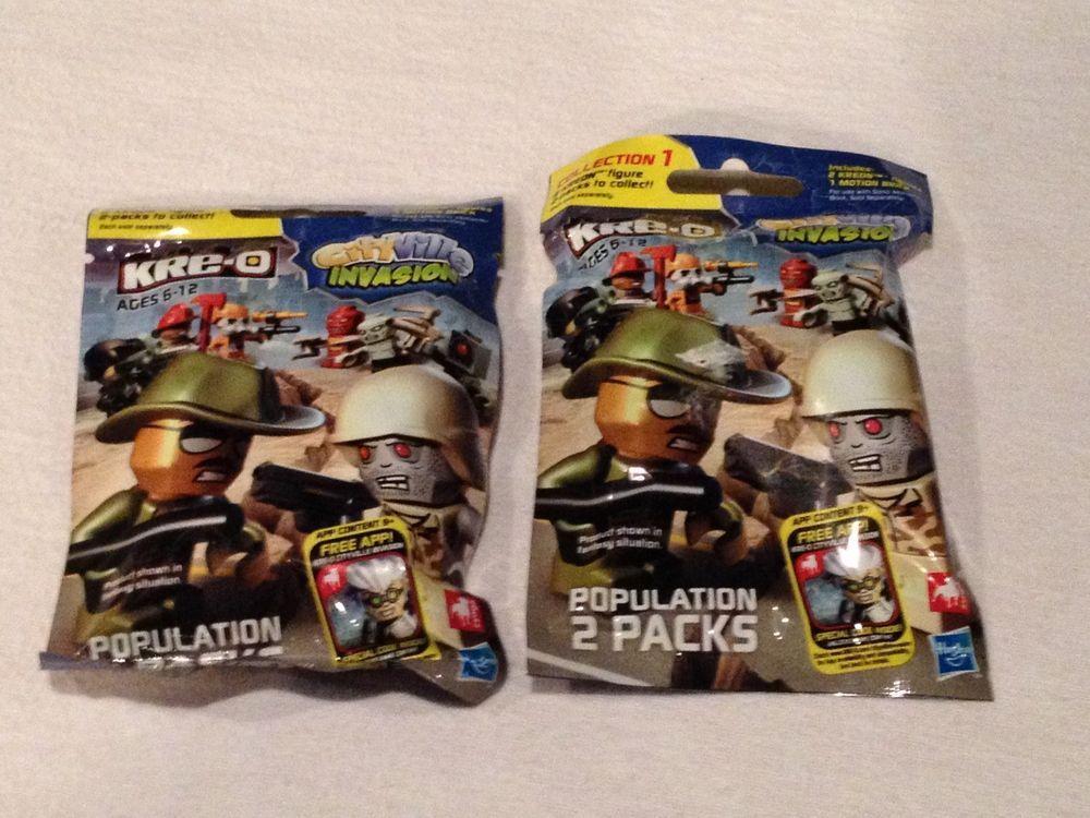 NEW 2 packs Kre-o cityville invasion Ea. pack w/2 Kreon figures & 1 motion brick #Kreo