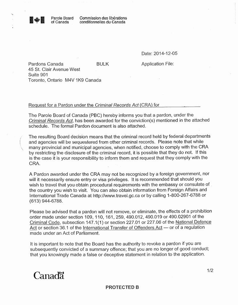 Governor Pardon Letter Sample