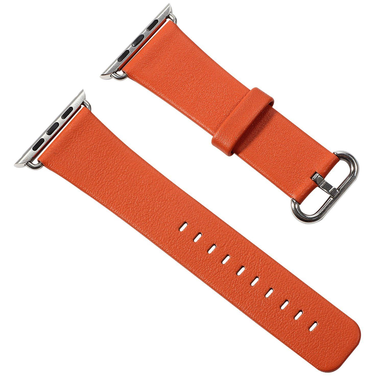 Eyexplo Apple Watch Band, Luxury 42mm Genuine Leather Replacement Strap Wrist Band W/metal Clap for Apple Watch