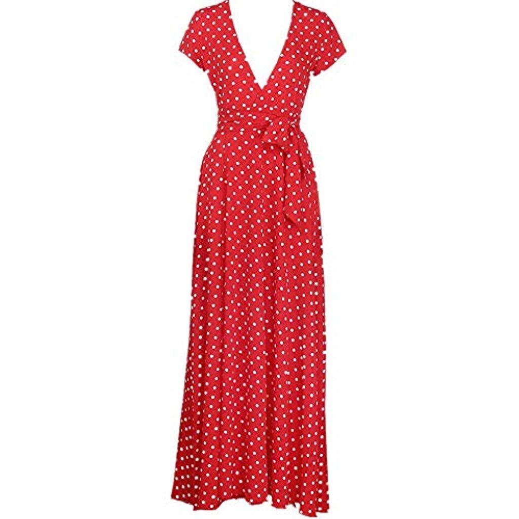 ad839a3e33 Daoope Donna Vestito Lungo Abito Maxi a Pois Casual Largo Elegante ...