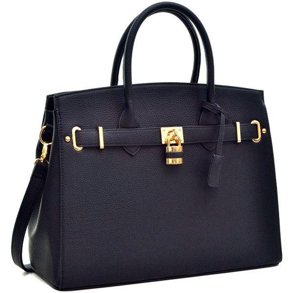 Women S Satchel Handbag 45 Liked On Polyvore Featuring Bags Handbags Purses Black Purse Structured