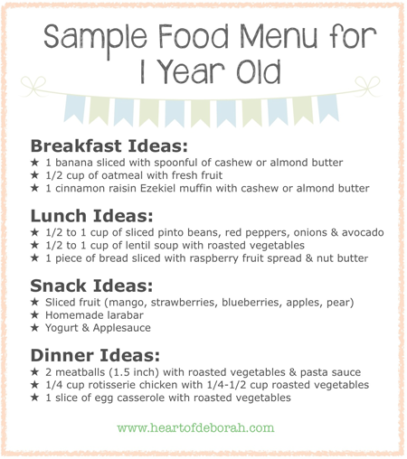 Sample menu for one year old kid blogger network activities  crafts pinterest and child also rh