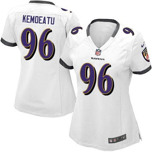 nike nfl baltimore ravens 96 maake kemoeatu game women white road jersey sale