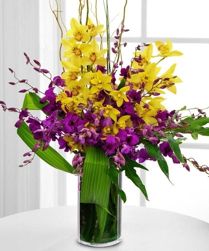 Tropical Joy Purple And Yellow Orchids Flower Delivery Flower Arrangements Orchids