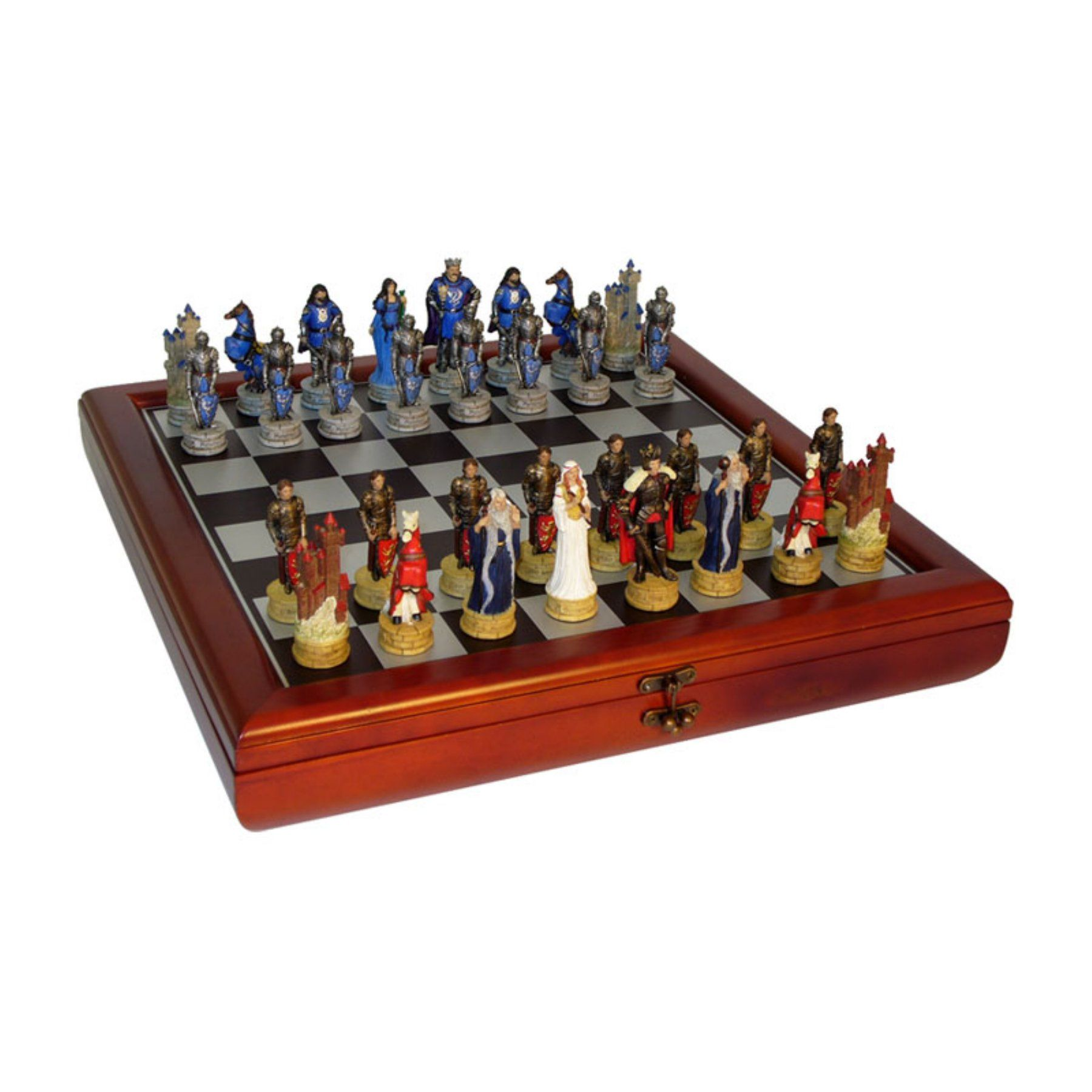 King Arthur's Court Painted Resin Chess Set with Cherry