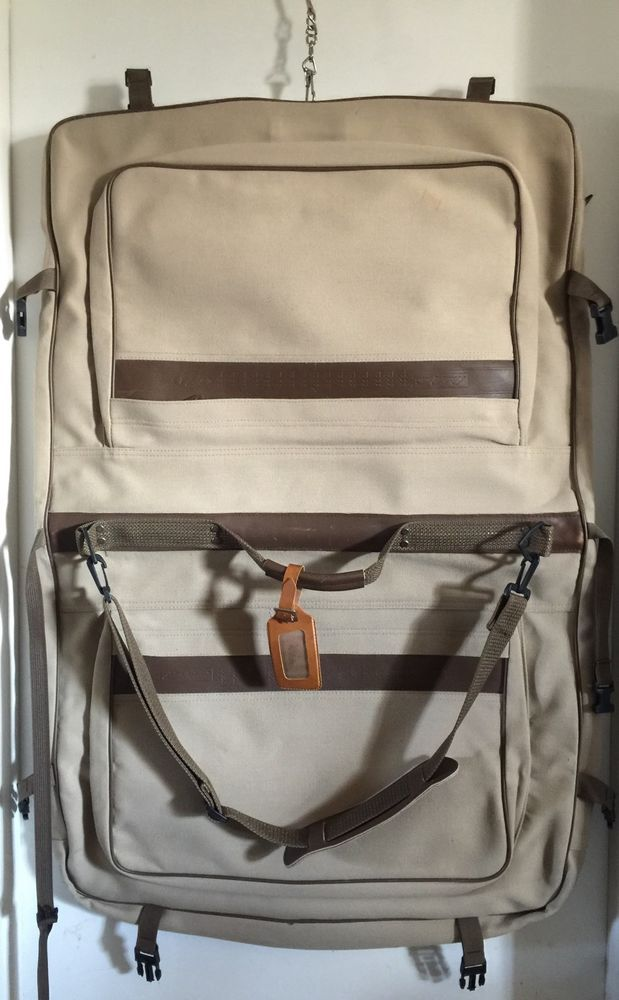 99be8d197f4b Vintage Eddie Bauer Ford Canvas and Leather Folding Garment Bag Luggage