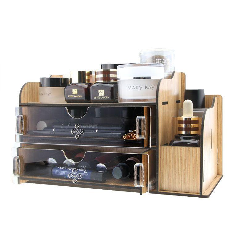 Acrylic Wooden Makeup Organizer Diy Desktop Storage Box Double