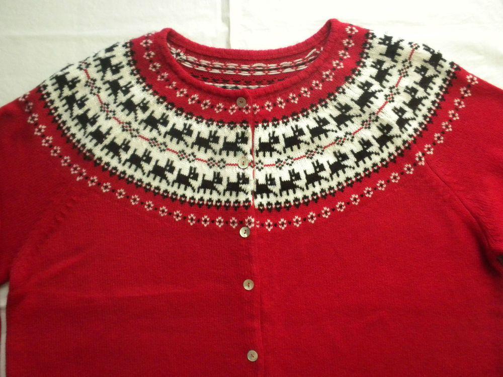 Ugly Christmas Sweater Red Fair Isle Nordic Scotty Dog Ski ...