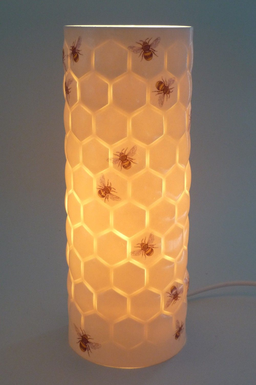 So in love with this Porcelain lamp with bee and honeycomb design ...