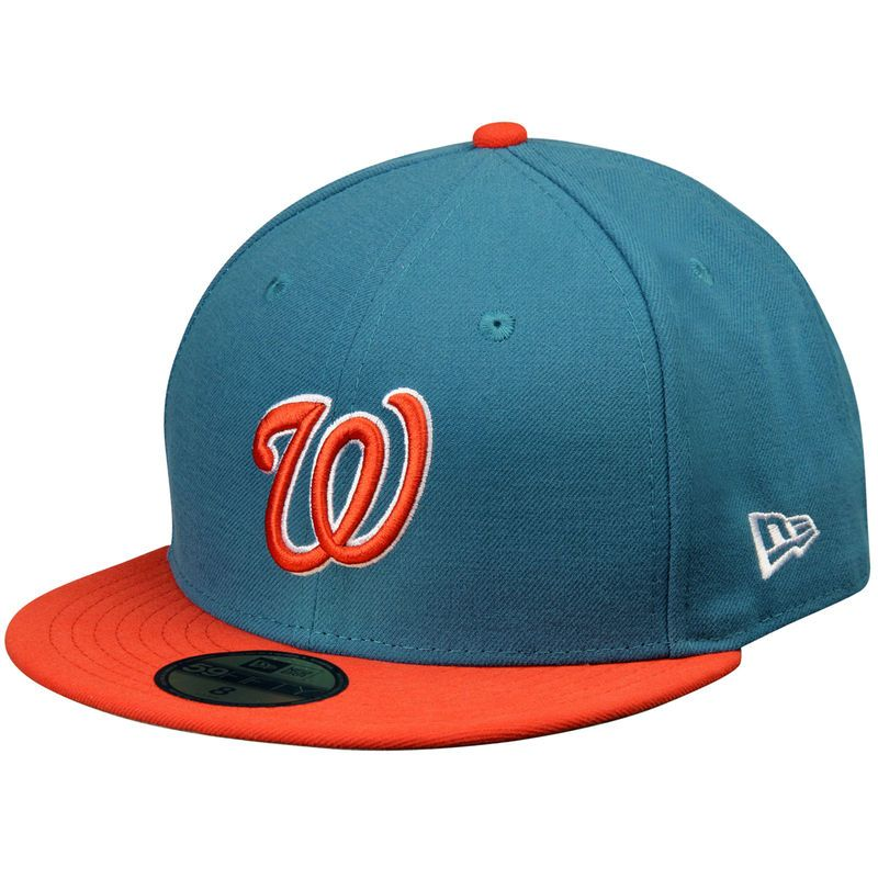 c16a9f241e2 Washington Nationals New Era 2-Tone Basic 59FIFTY Fitted Hat -  Turquoise Orange