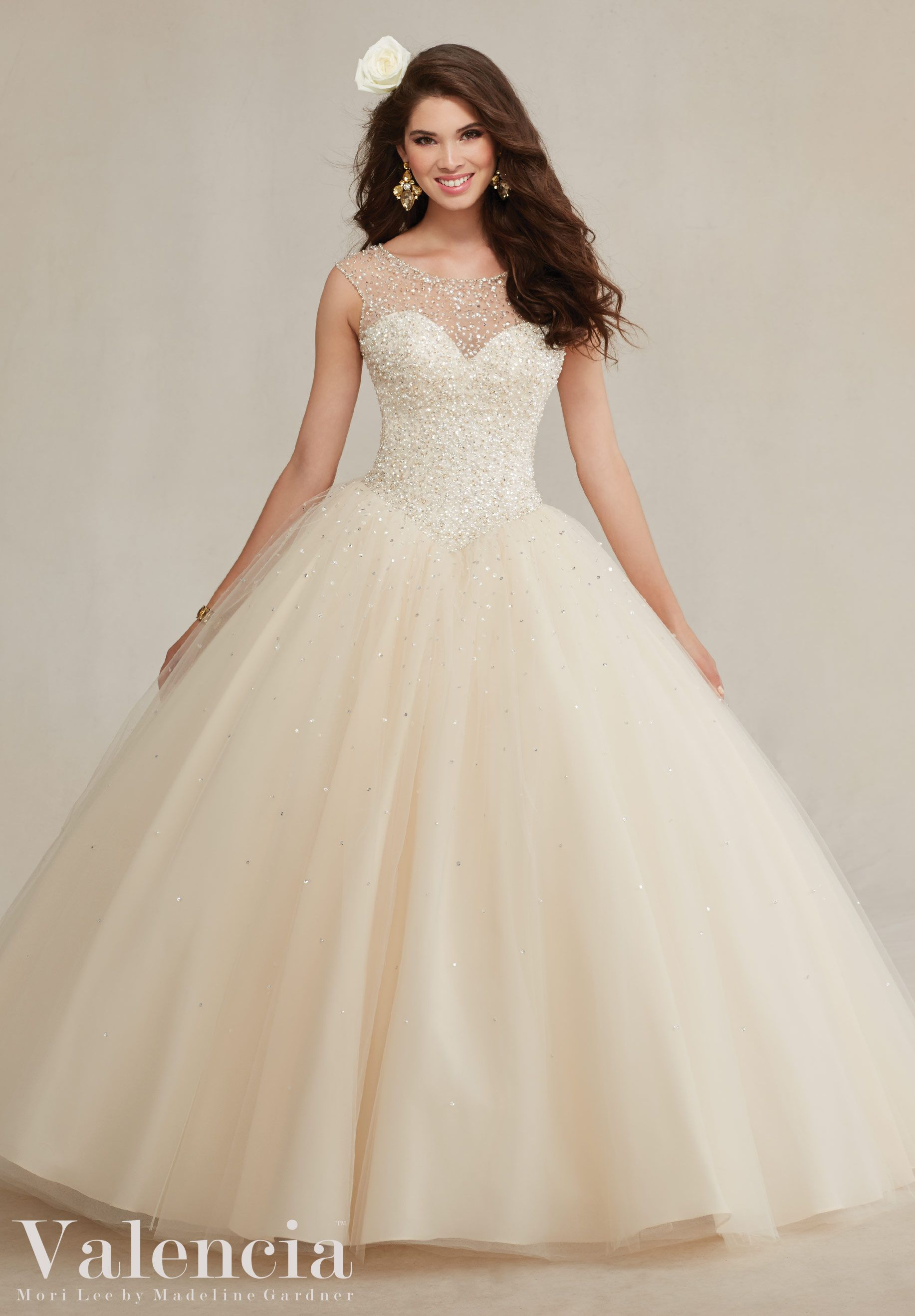 c26e3aa4af6 Quinceanera dresses by Vizcaya Beaded Tulle Ball Gown Matching Stole  included. Colors  Mint Leaf