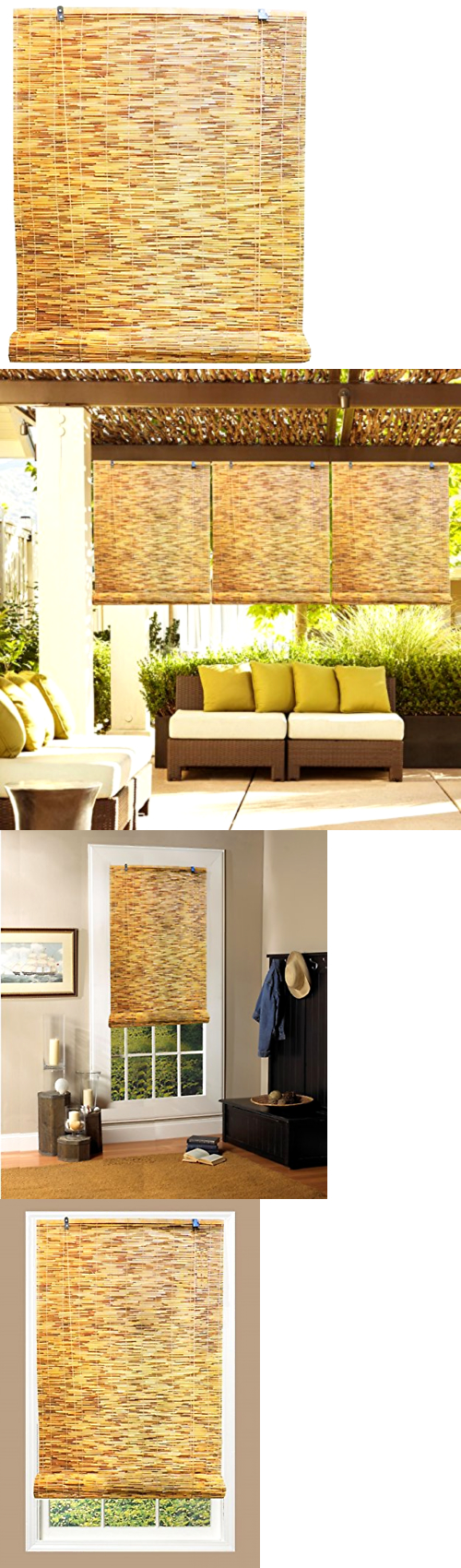 Blinds and Shades 20585: Outdoor Patio Garden Reed Wood Roll Up ...