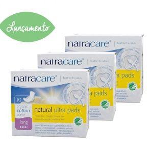 Absorvente orgânico Natracare Long com abas Ultra Pads Pacote Jumbo com 30 unidades- Lohas Store