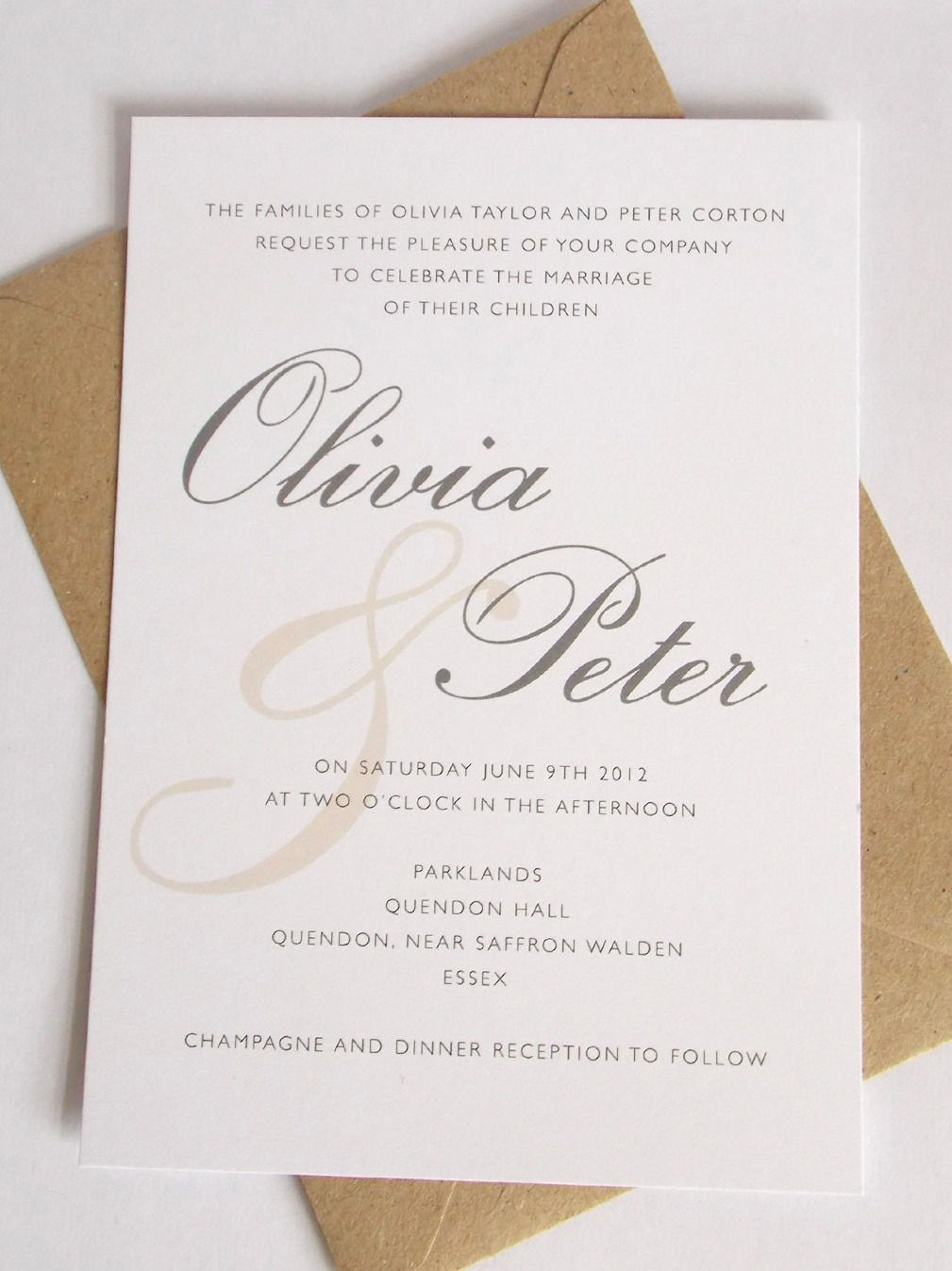 champagne blush wedding invitations%0A Olivia  elegant wedding invitation from Printed Love Co