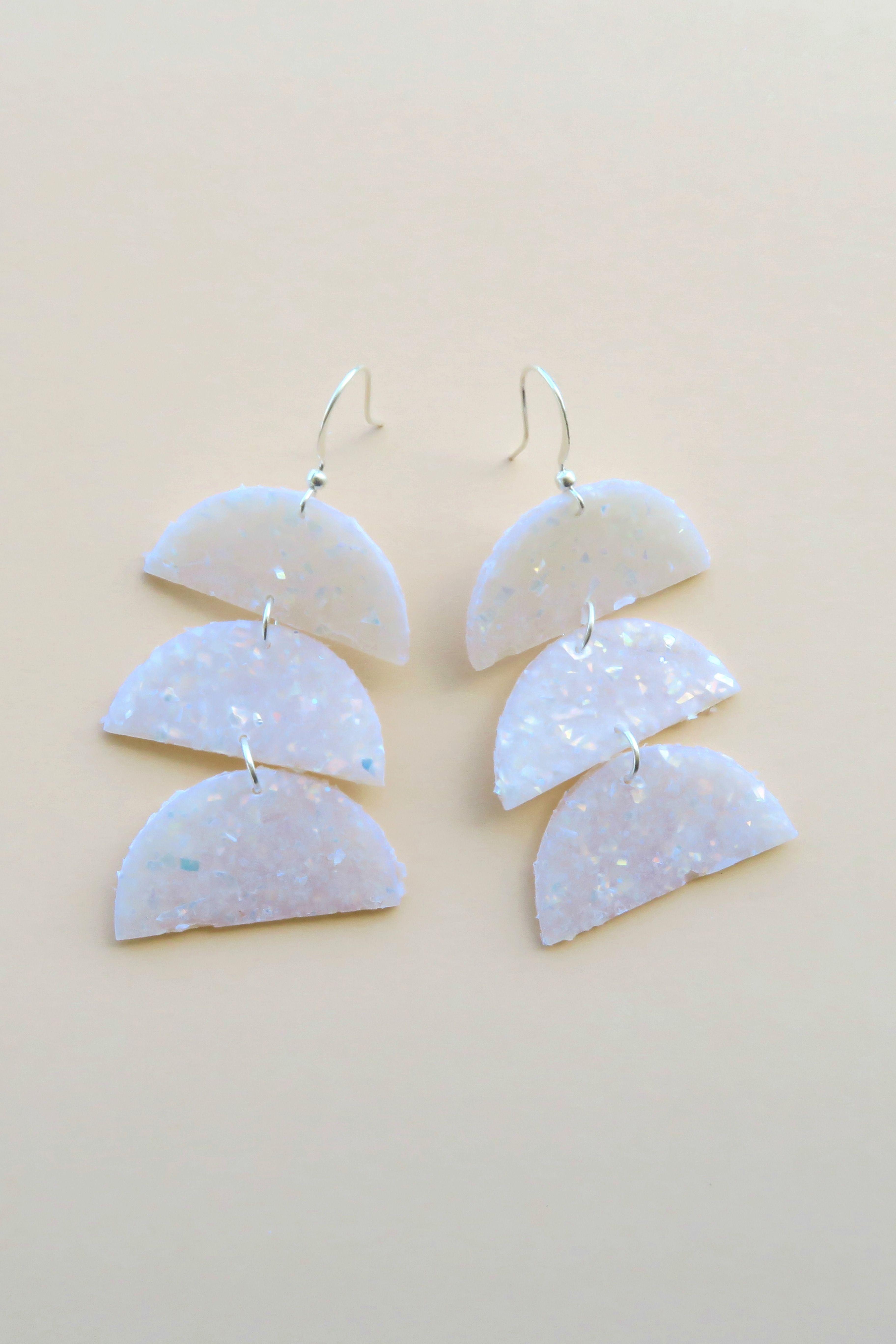 Large Hoop Earrings Sparkly Clay Earrings Shimmery Silver Layered Hoop Earrings Large Clay Statement Earrings Clay Hoop Earrings Modern
