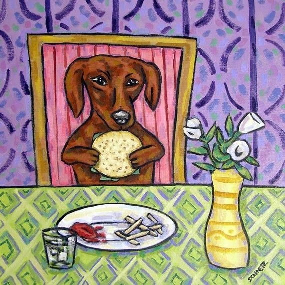 Vegetarian Dachshund Eating A Veggie Burger Art Print By