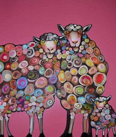 Eli Halpin Oil Paintings - Sheep Family in Strawberry