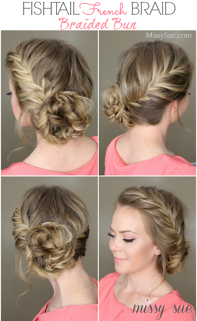 Fishtail French Braid Braided Bun | Hair styles, Long hair styles ...