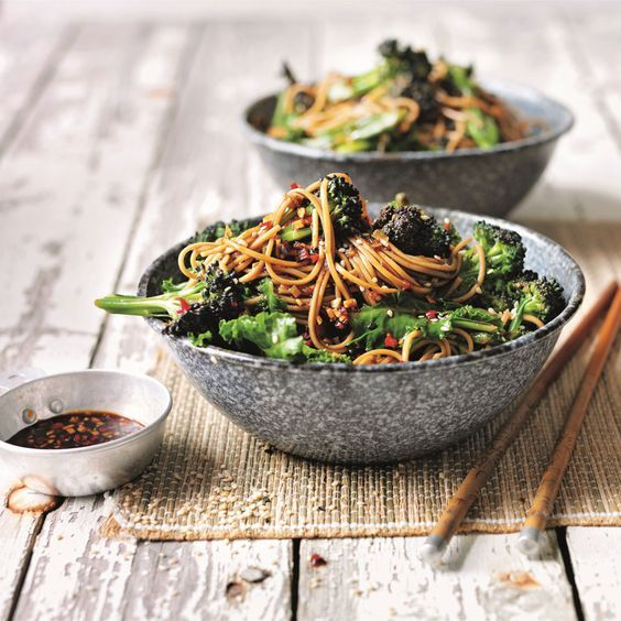 Photo of Soba noodles with broccoli and sweet soy, ginger and chilli …