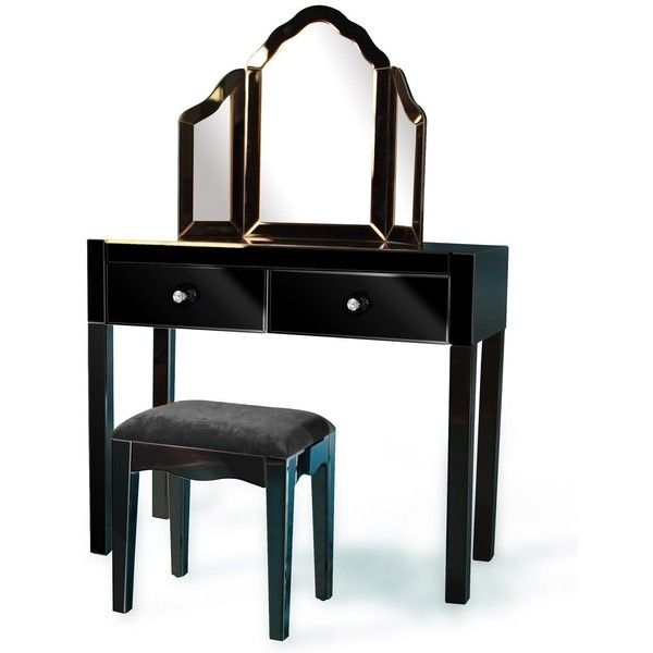 Best Mirrored Dressing Table Set In Black 650 Liked On 400 x 300