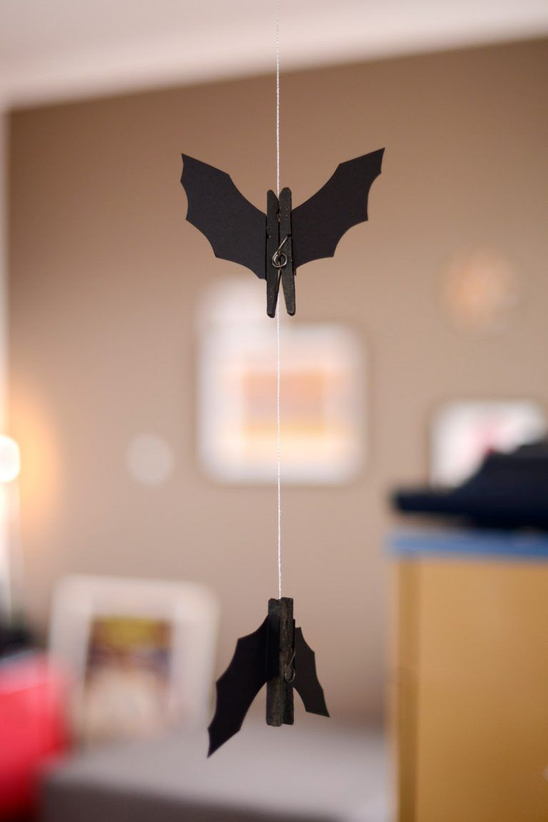 You can make a set of hanging bat ornaments as Halloween decorations - How To Make Halloween Decorations