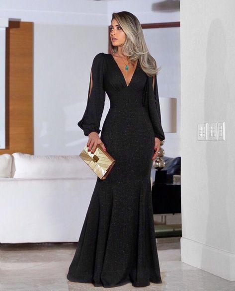 6d756188b 60 modelos de vestido longo preto para você arrasar em qualquer ocasião