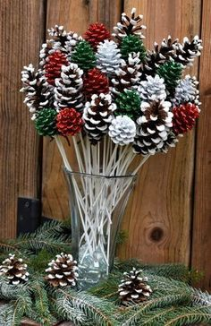 Holiday Pine Cone Flowers/ ONE Dozen White Tipped