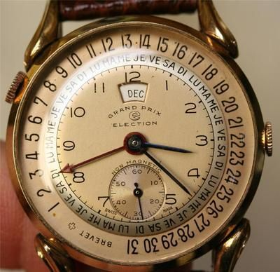 bd70b3438101 Vintage Election Wristwatch with Leather Band by Grand Prix