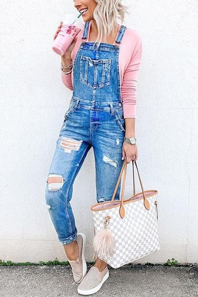 Pockets Ripped Denim Overalls