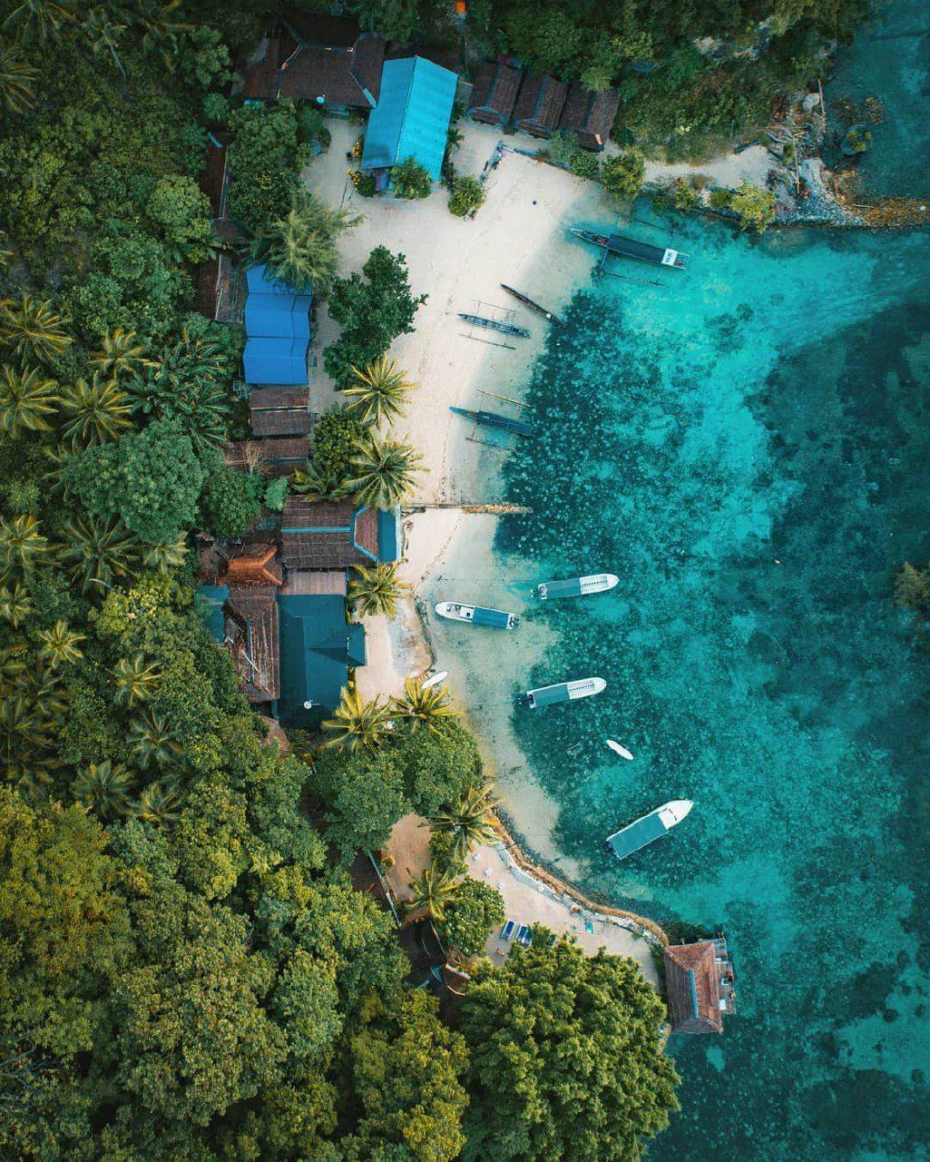 An amazing aerial view of Kadidiri Resort in Togean