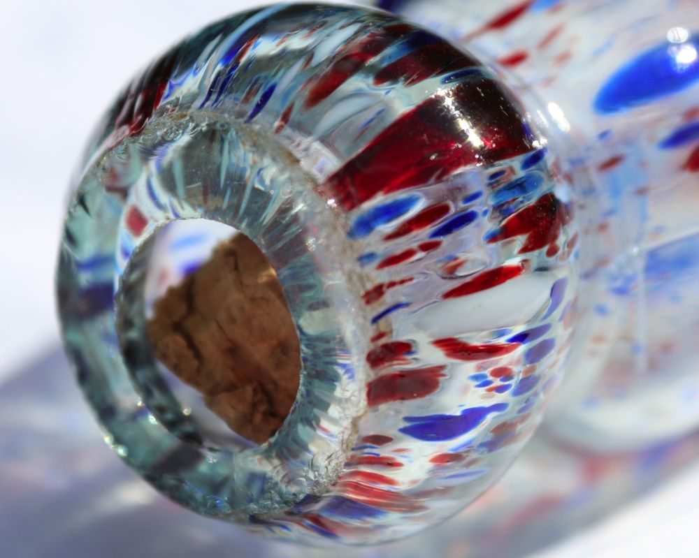 Nailsea Glass Rolling Pin, Speckled Glass, Red White & Blue Spatter Glass #Nailsea