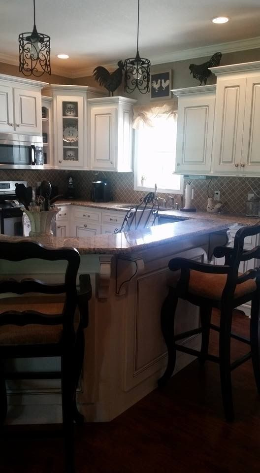 Off white kitchen cabinets with black glaze. French ...