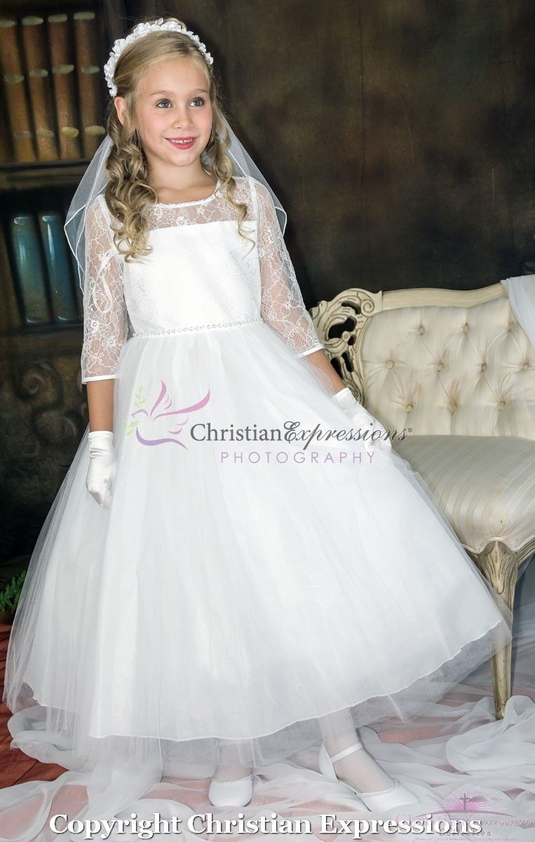 4e4f2f2e First Communion Dress with Lace Bodice Three Quarter Sleeves ...