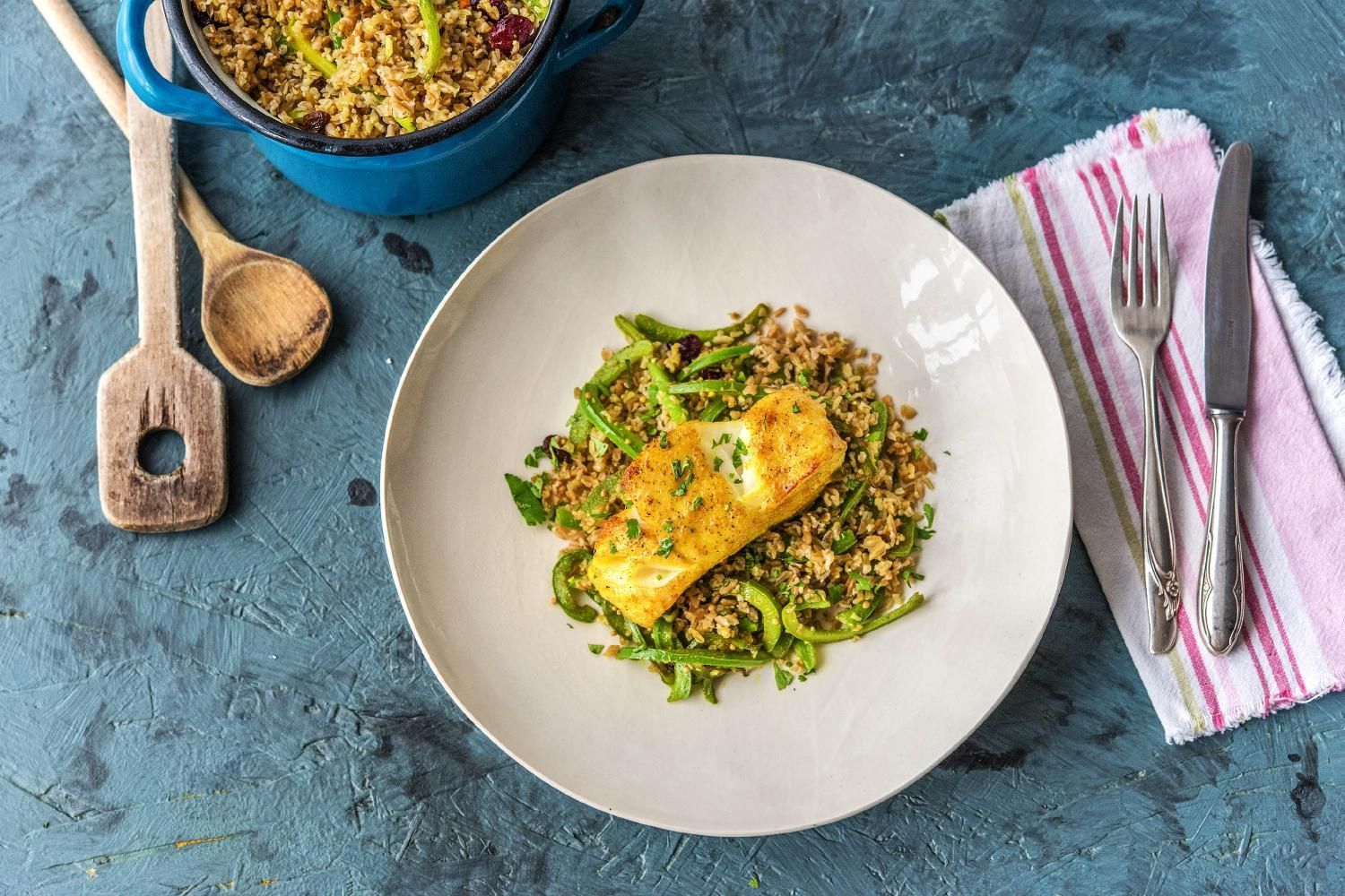 Sri Lankan Spiced Cod With Fruity Freekeh